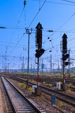 Railway Signal and Overhead Wiring Stock Images