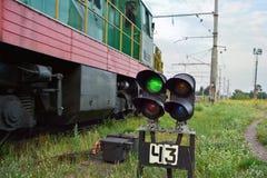 Railway signal. Permitting to run forward. Ukraine stock photos