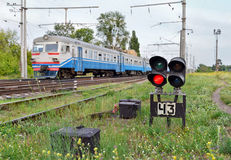 Railway signal. Showing stop aspect for the right side of the track. Ukraine royalty free stock image