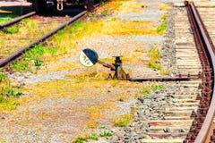 Railway signal and railway switch stock photos