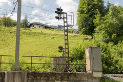 Railway signal in the tauern. Railway signal in the high mountains in austria Stock Image