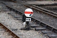 Railway signal. Between railway track Royalty Free Stock Photography