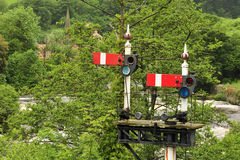 Railway signals, Llangollen, Wales Stock Photos