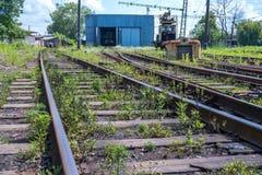 Railway signs, semaphores and railroad crossings, Poti, Georgia.  Stock Photos