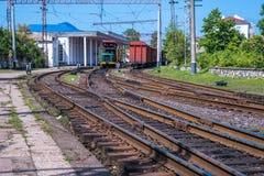 Railway signs, semaphores and railroad crossings, Poti, Georgia.  Stock Photo