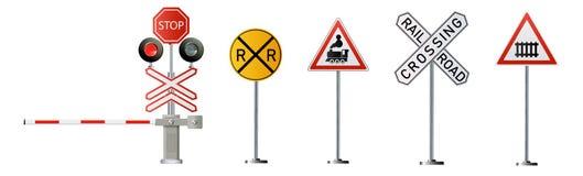 Free Railway Signs Set Isolated On White Background. Vector Railway Illustration. Stock Image - 170629411