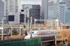 Railway with skyline Ginza Tokyo Royalty Free Stock Photo