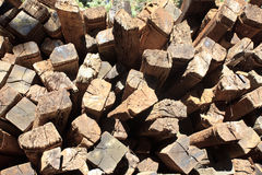 Railway sleeper stacked Stock Image