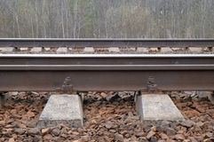 Railway with sleepers and rails Stock Images