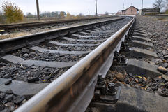 Railway sleepers and rails with Stock Photography