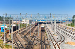 Railway sorting station - rails and trains Royalty Free Stock Image