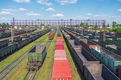 Railway sorting station. Town junction railway yard on which sorting of freight railway trains takes place Stock Images