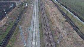 Railway. The span over the railway tracks. stock video