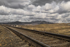 The railway. Railway, spring sky and the beautiful steppe Royalty Free Stock Photos