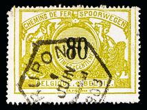 Railway Stamp: Black numeral with bilingual text, serie, circa 1. MOSCOW, RUSSIA - MAY 16, 2018: A stamp printed in Belgium shows Railway Stamp: Black numeral stock photos
