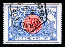 Railway Stamp: Middle in different colors, serie, circa 1902. MOSCOW, RUSSIA - MAY 16, 2018: A stamp printed in Belgium shows Railway Stamp: Middle in different stock photos