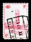 Railway Stamp: Station Brussels North, serie, circa 1954. MOSCOW, RUSSIA - MAY 15, 2018: A stamp printed in Belgium shows Railway Stamp: Station Brussels North stock photography