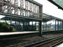 Railway station. Train tracks and platform in Chester railway station, Cheshire, England Stock Images
