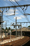 Railway station. Catenary and power lines in a railway station Stock Images