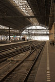 Railway station. Amsterdam railway station, no trains, some people on platforms royalty free stock photo