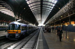Railway station. Wide angle photo of busy railway station Royalty Free Stock Photography