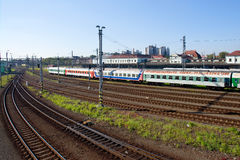 Railway station. Summer city scenery with many train tracks and one long train. The biggest czech train station, Bohumin, Czech Republic Royalty Free Stock Image