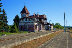 Railway station. Old destroyed railway station in Tolkmicko, Poland Royalty Free Stock Images