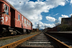 Railway station. Old train on a railway station in Norway outside Bergen Royalty Free Stock Images