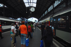 Railway station. In Lucern -  switzerland. Time for departure Royalty Free Stock Image