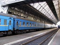 Railway station. In Lvov city with blue train stock images