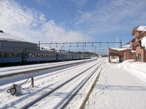 Railway station. Train at a railway station in sweden Royalty Free Stock Images