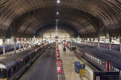 Railway station. Wide angle photo of railway station at night Royalty Free Stock Images