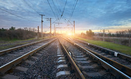 Railway station against beautiful sunny sky. Industrial landscape Royalty Free Stock Photos
