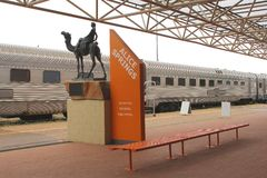 The Ghan train is waiting at railway station Alice Springs, Australia Royalty Free Stock Image