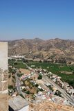 Railway station, Alora, Andalusia, Spain. Railway station and surrounding countryside seen from the castle, Alora, Malaga Province, Andalusia, Spain, Western Stock Photos