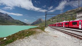 On the railway station in Alpine landscape stock footage