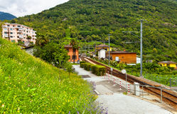 Railway station in Alps Royalty Free Stock Photos