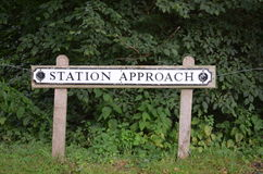 Railway station approach sign. Stock Photography