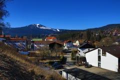 Railway station Bayerisch Eisenstein - Alžb�tín, ski resort, Bohemian Forest (Šumava), Germany - Czech Royalty Free Stock Photography