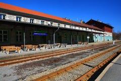 Railway station Bayerisch Eisenstein - Alžb�tín, ski resort, Bohemian Forest (Šumava), Germany - Czech Royalty Free Stock Image