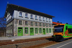 Railway station Bayerisch Eisenstein - Alžb�tín, ski resort, Bohemian Forest (Šumava), Germany - Czech Stock Photo