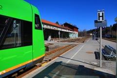 Railway station Bayerisch Eisenstein - Alžb�tín, ski resort, Bohemian Forest (Šumava), Germany - Czech Royalty Free Stock Images