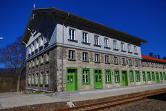 Railway station Bayerisch Eisenstein - Alžb�tín, ski resort, Bohemian Forest (Šumava), Germany - Czech Stock Photos
