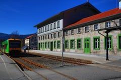 Railway station Bayerisch Eisenstein - Alžbětín, ski resort, Bohemian Forest (Šumava), Germany - Czech Royalty Free Stock Photo