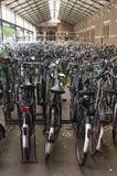 Railway Station Bicycle Parkin Royalty Free Stock Photography