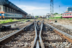 Railway on station with blue sky and train Stock Images