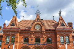 Railway station building in Malbork, Poland Stock Image