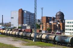 Railway station and cargo train. Narva. Estonia Stock Photography