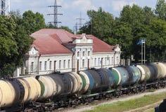 Railway station and cargo train. Narva. Estonia Royalty Free Stock Image