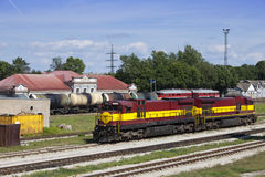 Railway station and cargo train. Narva. Estonia.  royalty free stock photography